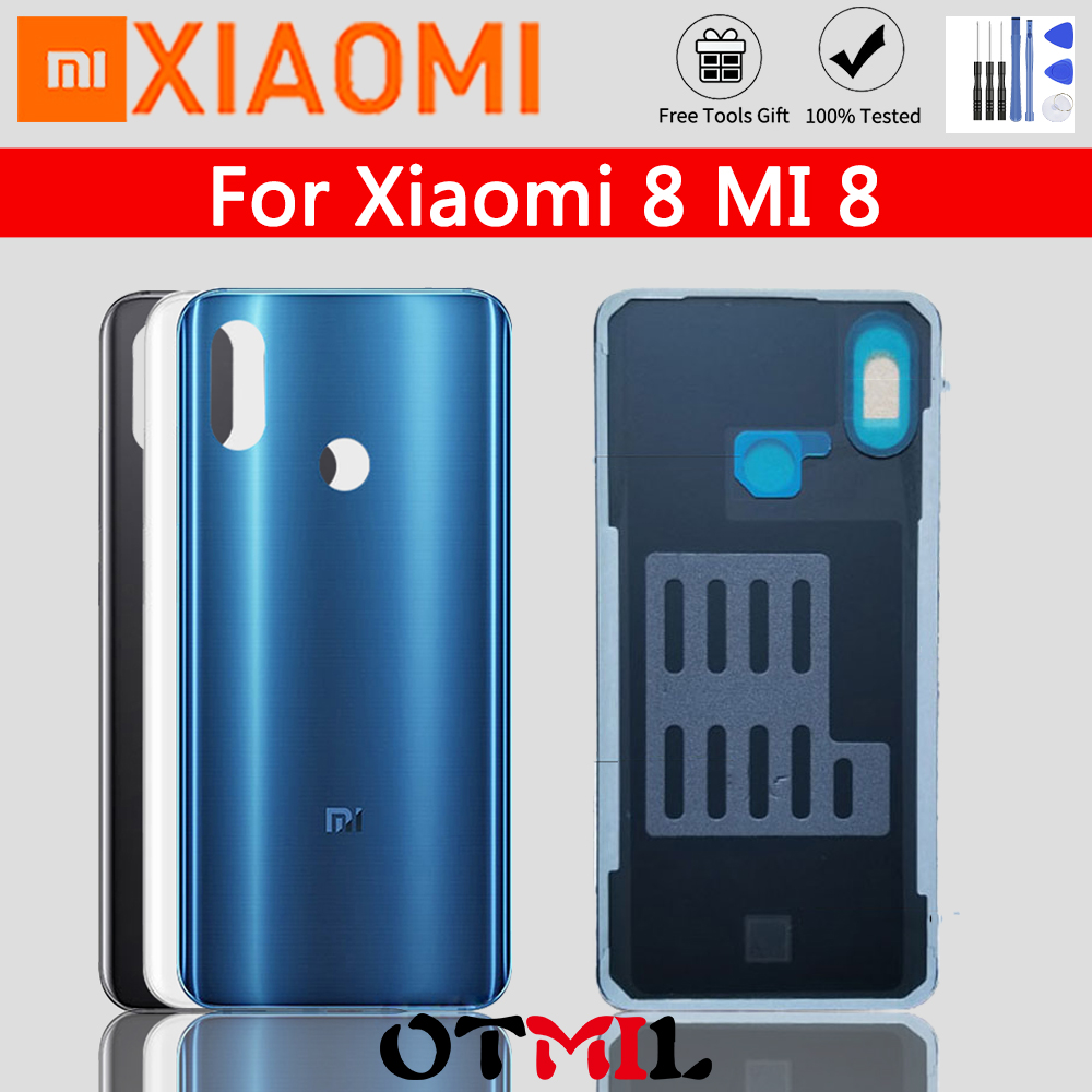 Original For <font><b>Xiaomi</b></font> <font><b>Mi</b></font> <font><b>8</b></font> <font><b>Battery</b></font> <font><b>cover</b></font> Official Tempered Glass Case For <font><b>Xiaomi</b></font> <font><b>8</b></font> Mi8 Back <font><b>Battery</b></font> <font><b>Cover</b></font> Housing Replacement image
