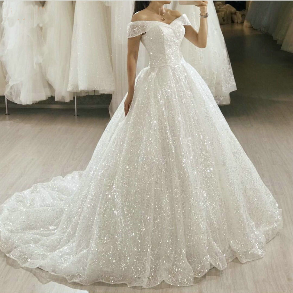 Glitter Boho White Wedding Dresses Long 2020 Bling Bling Sequin Sweep Train Bride Gowns Princess Church Bridal Dress Custom Made