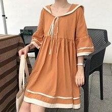 Lace Up Three Quarter Sleeve Women Mini Dress Vestido 2019 Autumn Sweet Doll Waist Temperament Cute Pleated