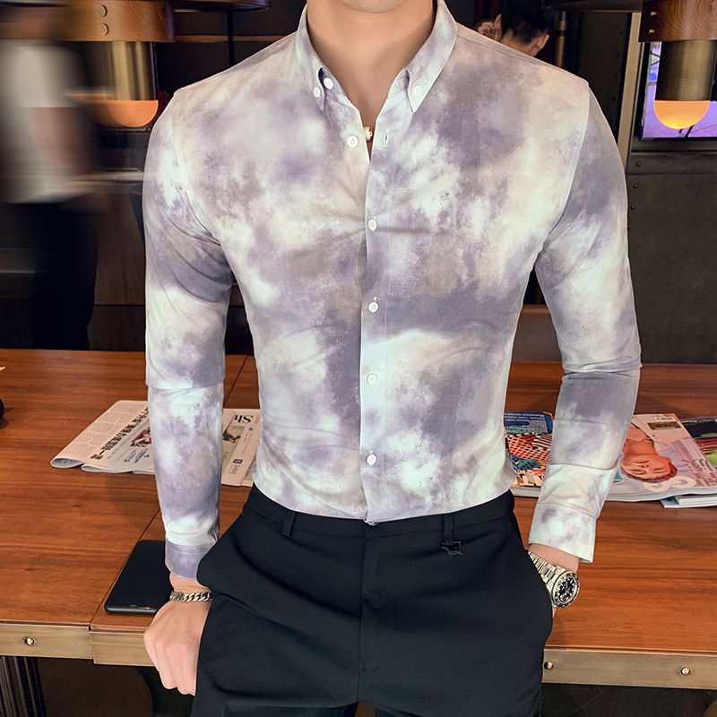 British Style Men Shirt High Quality Tie Dyeing Formal Wear Mens Casual Shirts Long Sleeve Slim Fit Business Tuxedo Shirt 3XL-M