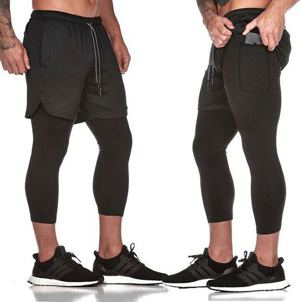 Men Summer Trainning Exercise Shorts Tracksuit Sport Gym Skinny Jogging Joggers Sweat Breathable Fake Two Pieces Pants Trousers