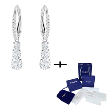SWA New Shiny Round White Crystal Pierced Earrings Exquisite