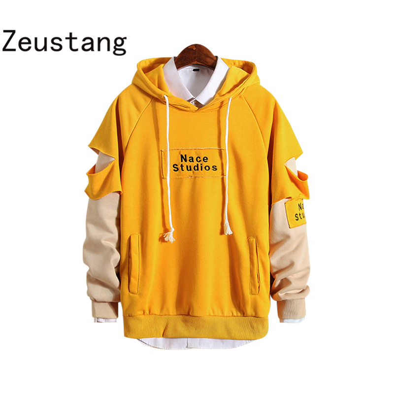 Zeustang 2020 Mans Hoodie Sweatshirt Mens Hip Hop Pullover Hoodies Streetwear Casual Fashion Clothes Patchwork Hoodie  Y46