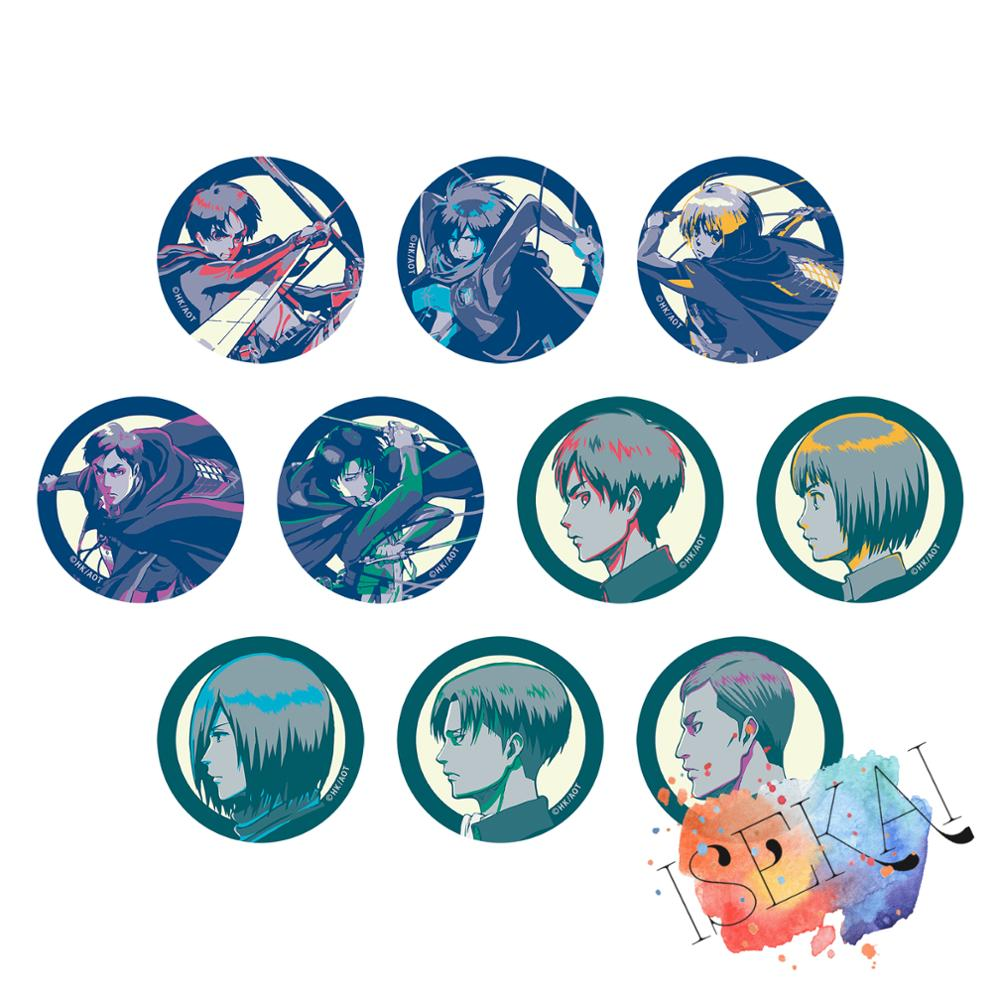 Attack on Titan Anime Badge Eren Jaeger Levi Mikasa Ackerman Armin Arlelt Erwin Smith Metal Badge Brooch Pins
