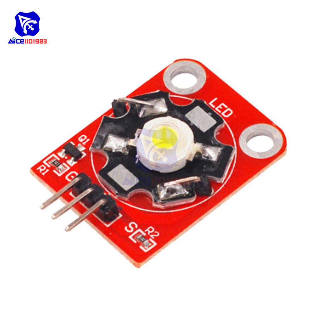 diymore 3W High Power LED Module Blue/Green/Purple/Red/White/Yellow LED with PCB Chassis for Arduino STM32 AVR