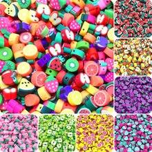 30 teile/los 10mm Obst Perlen Polymer Clay Perlen Mischfarbe Polymer Clay Spacer Perlen Für Schmuck Machen DIY Armband halskette