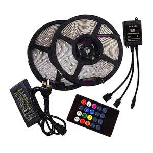 Светодиодная лента с подсветкой, музыкальная синхронизация 5050 12 В, украшение для гостиной, водонепроницаемая, внутреннее освещение, умная А...
