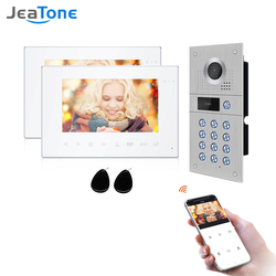 Jeatone Drahtlose Video Gegensprechanlage für Zu Hause IP Video Türklingel Fingerprint Entsperren HD 7 zoll Touch Screen Wifi Intercom System Kit