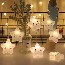3M 20LED Cute Smiley Star Christmas Garland Light String Fairy Battery Powered For Children Baby Bedroom Party Xmas Tree Wedding New Year Decoration