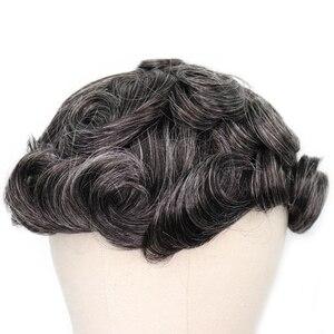 Image 3 - YY פאות 1B טבעי שחור מעורב אפור שיער טבעי פאה גברים מונו נטו & pu רמי שיער החלפת מערכת גברים של פאה 6 אינץ 8x10
