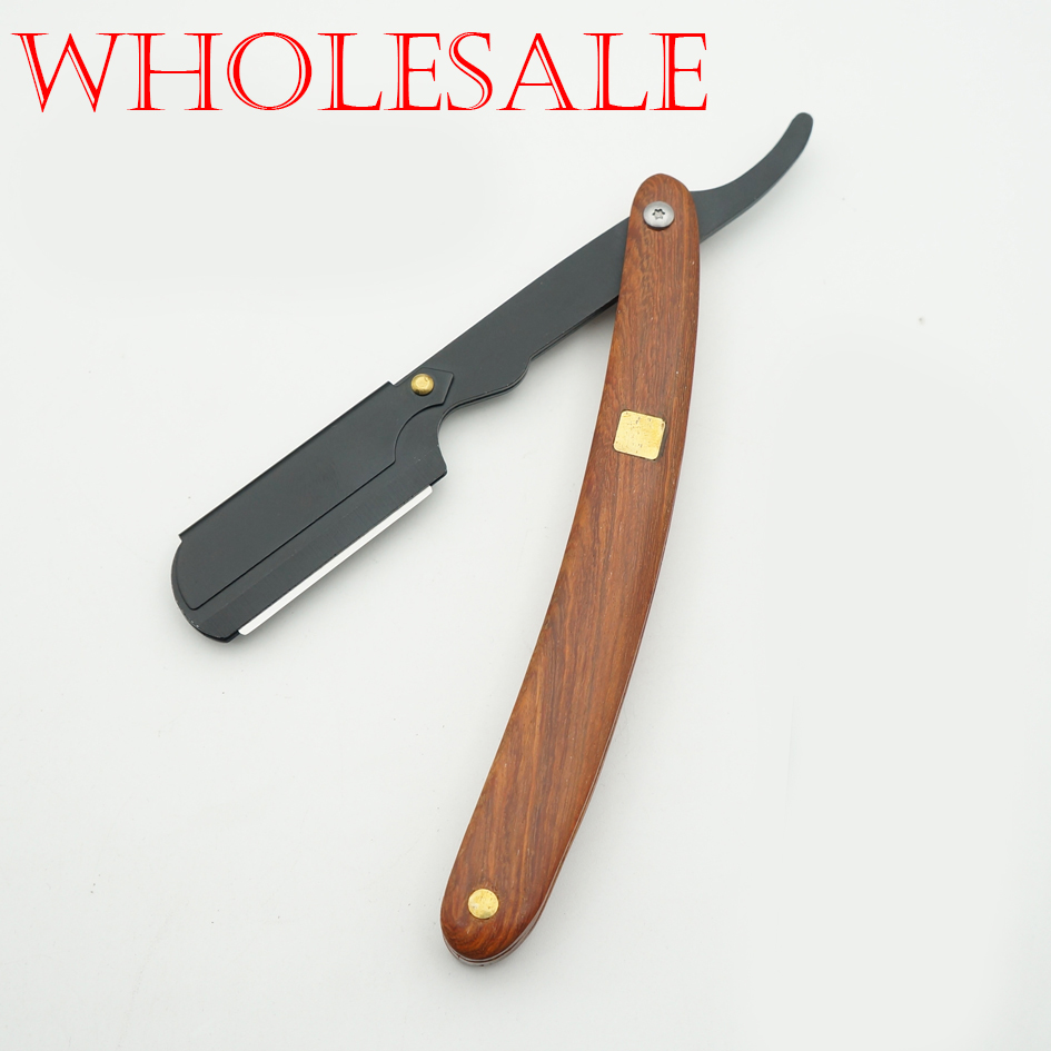 Wholesale Classic Men's Manual Razors Rosewood Handle Portable Face Razor Barber Hair Cut Razor Change Blade Type Shaving 10pcs