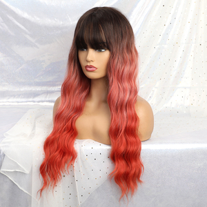 Image 3 - ALAN EATON Long Ombre Orange red Black Women Wigs with Bangs Heat Resistant Synthetic Wavy Wigs Female African American Cosplay