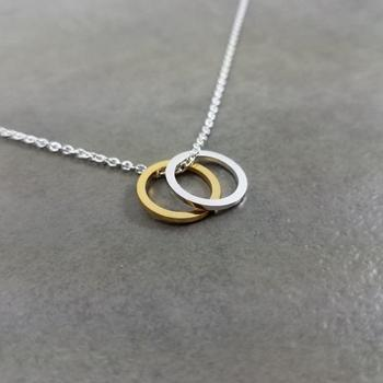 Hollow Outline Open Two Colors Circles Necklace Simple Geometric Double Circle Round Pendant Chain Necklaces for Women