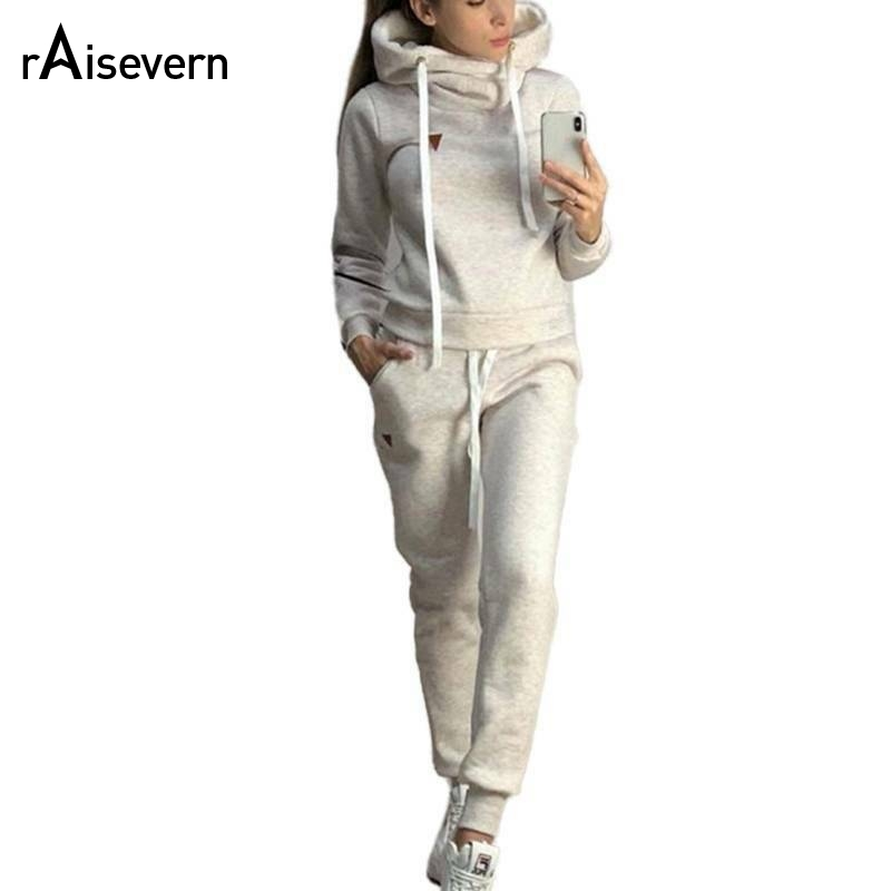 Raisevern New Women's Autumn And Winter Explosion Models New Fleece Fashion Casual Sports Suit Sweater Plus Size S-3XL