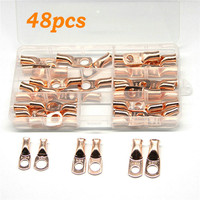 48PCS AWG Ring Terminal Lug Bare Copper Uninsulated Gauge Battery Terminal Connector Terminals     -