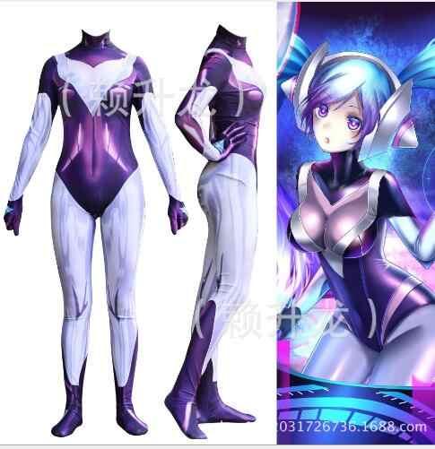 League of Legends DJ Sona Cosplay LOL Full Costume Dress Up Fancy Womens