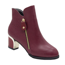 White Black Women Boots Comfy Square High Heel Ankle Boots Fashion Pointed Toe Zipper Boots Autumn Winter Ladies Shoes 2019 ladies suede comfort low heel ankle boots fashion zipper pointed toe fall winter bootie black red orange
