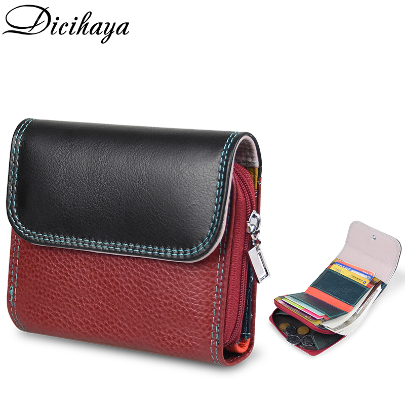DICIHAYA NEW Genuine Leather Women's Wallet Multicolor Female Small Portomonee Rfid Wallet Lady Coin Purses For Girls Money Bag