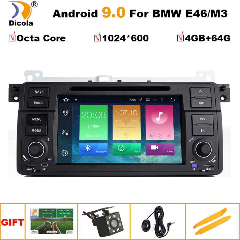 1 Din Android 9.0 Octa Core Car DVD Player For BMW E46 M3 318/320/325/330/335 Rover 75 1998-2006 GPS Navigation BT Wifi image