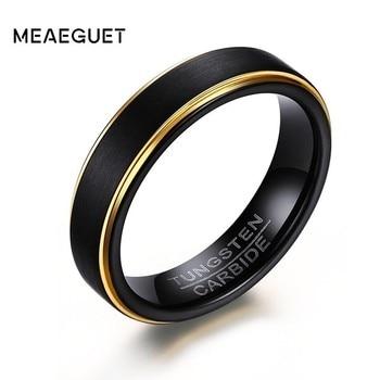 Мужские кольца из карбида вольфрама, свадебные бренды с золотыми краями, черные модные персоанизированные ювелирные изделия
