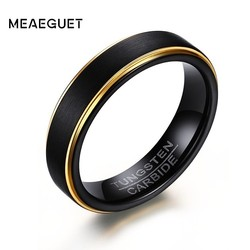 Men Rings Tungsten Carbide Wedding Brands Gold Edge Black Color Fashion Persoanlized Jewelry