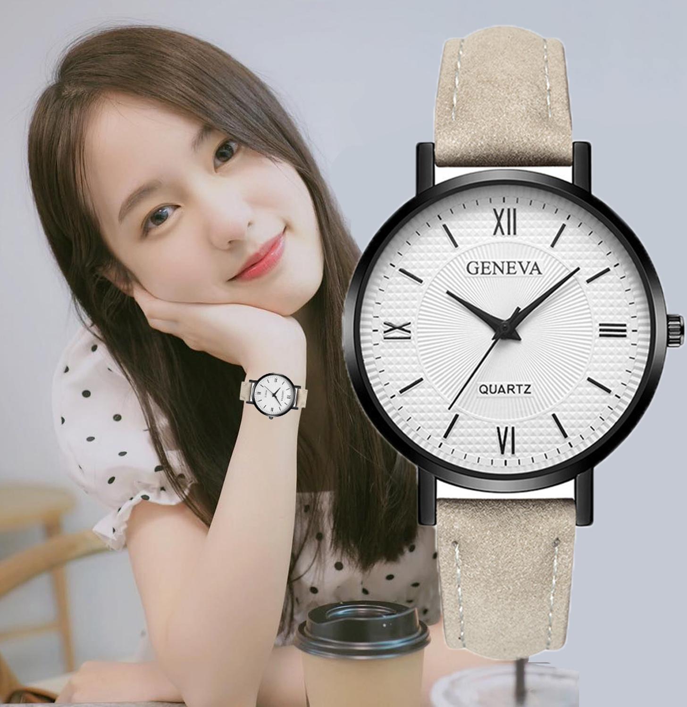 2019 Top Brand Women Watches Fashion Quartz Watch For Ladies Leather Band Brown Black Retro Wrist Watch Female Vintage Watch New