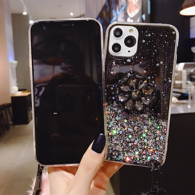 H733b7256fed841cb9a7575ae28c0457co Luxury diamond cute hair ball lanyard bracket soft case for iphone 7 X XR XS 11 pro MAX 8 6S plus for samsung S10 S8 S9 Note A50