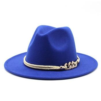 Black/white Wide Brim Simple Church Derby Top Hat Panama Solid Felt Fedoras Hat for Men Women artificial wool Blend Jazz Cap 19