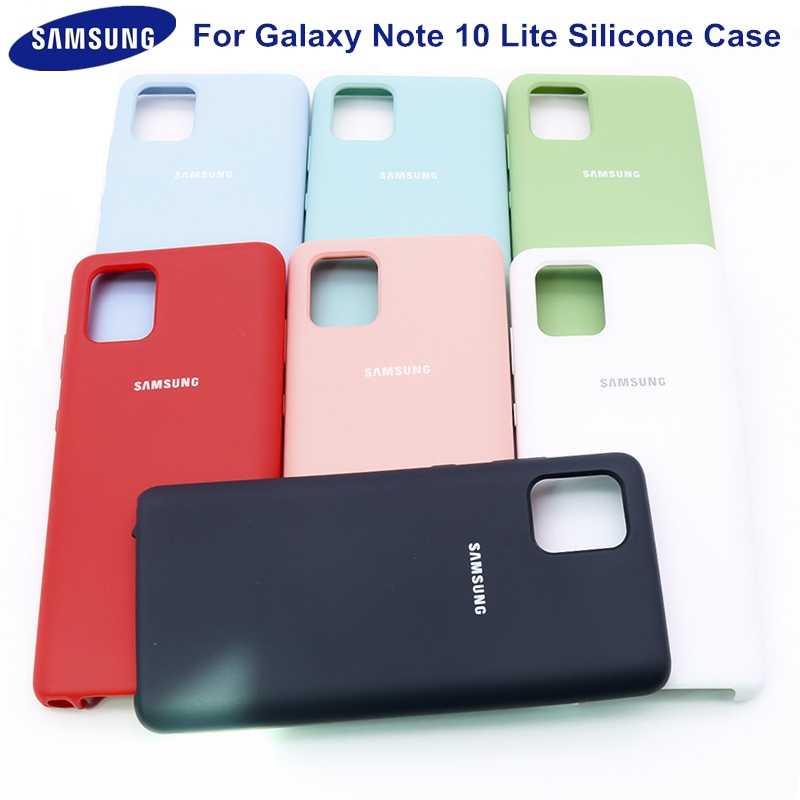 Coque de protection en Silicone liquide pour Samsung Galaxy Note 10 Lite, originale, douce au toucher, soyeuse