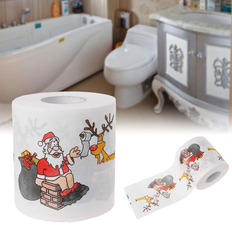 Bath Paper Christmas Printed Home Santa Claus Bath Toilet Roll Paper Christma Supplies Xmas Decor Tissue 240 Leaves Toilet Paper