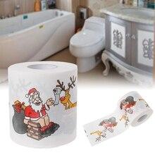 Bath Paper Christmas Printed Home Santa Claus Bath Toilet Roll Paper Christma Supplies Xmas Decor Tissue 240 Leaves Toilet Paper