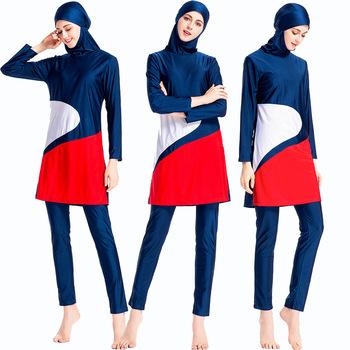 2020 nowy Burkini Patchwork islamski strój kąpielowy Bourkini Sport Burkinis kobiety hidżab Sport islamski Mayo z długim rękawem muzułmański strój kąpielowy tanie i dobre opinie Poliester L081 Pasuje prawda na wymiar weź swój normalny rozmiar 2020 New Burkini Patchwork Islamic Swim Wear Burkinis Women Hijab Sport Islami Mayo