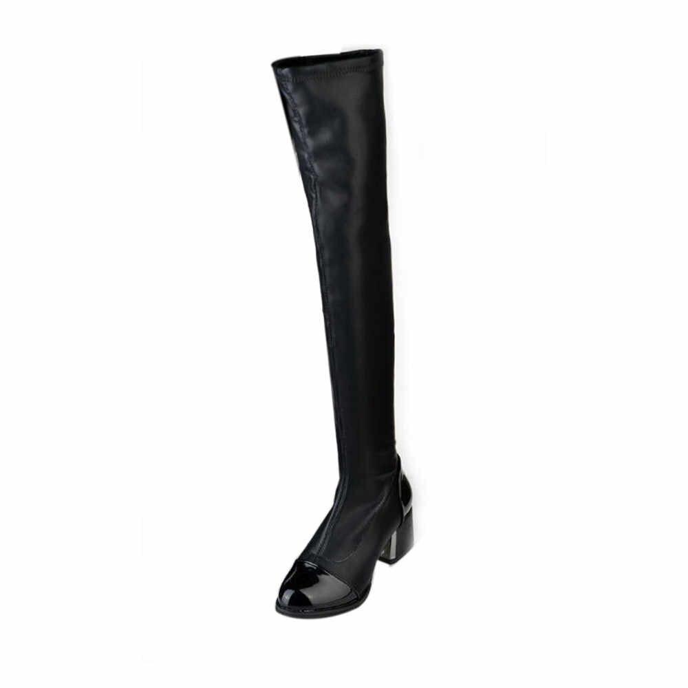 ฤดูหนาวกว่าเข่าบู๊ทส์สีดำ Over-the-เข่าผู้หญิงเซ็กซี่เจาะยืดหยุ่นรองเท้าชี้รองเท้าส้นสูงถุงน่อง over-The-Knee