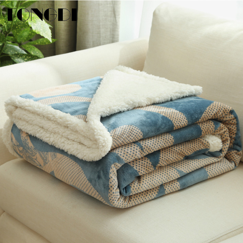TONGDI Warm Soft Cashmere Raschel Blanket Thickened Heavy Elegant Fleece Double-layer Decor For Cover Sofa Bed Bedspread Winter