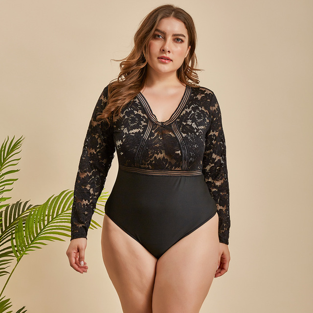 Ellolace Plus Größe Bodysuit Frauen Spitze Transparent Bodys Für Frauen  5