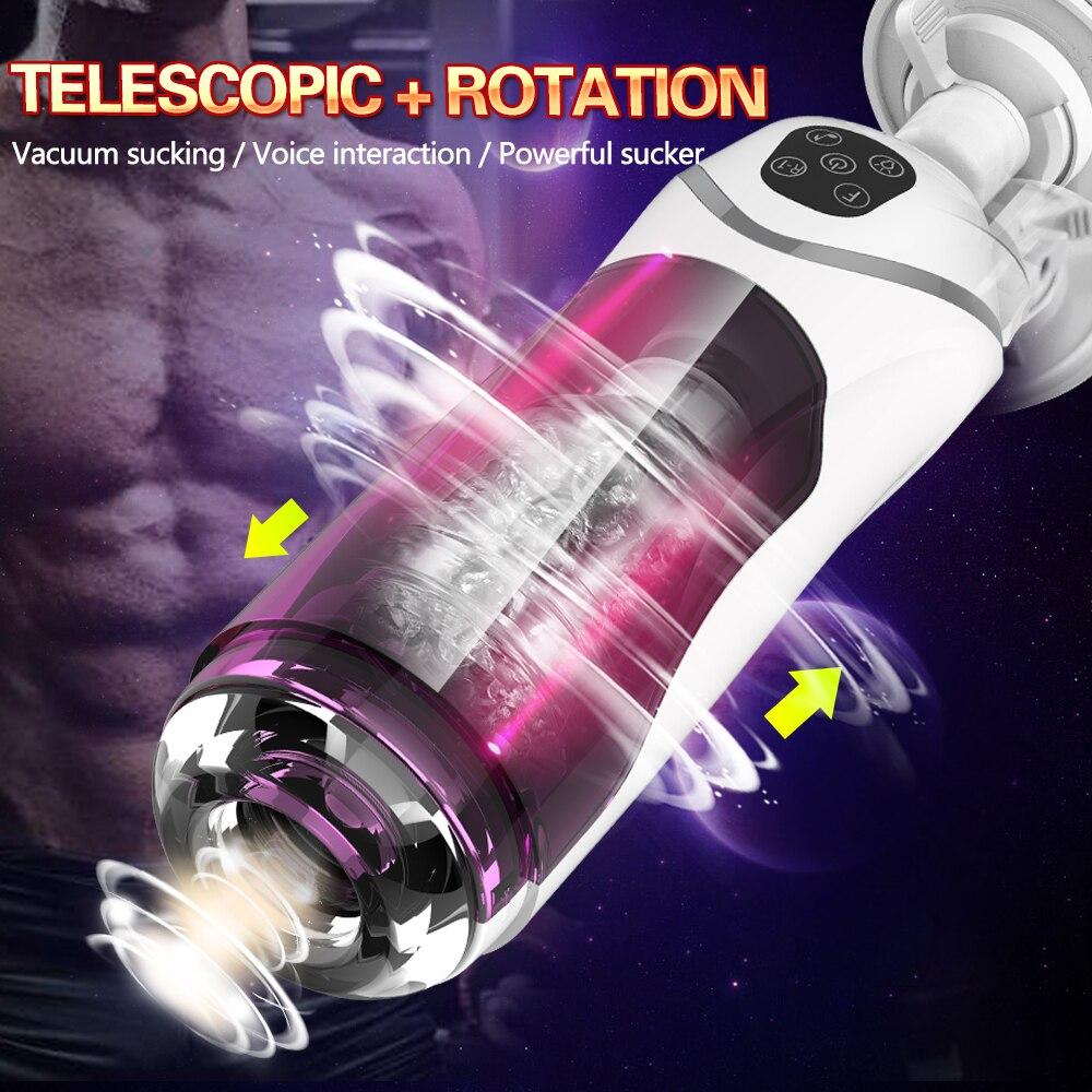 Blowjob Masturbator For Man Automatic Piston Telescopic Rotation Male Masturbator Cup Penis Sucker Vibrtor Handsfree Sex Machine