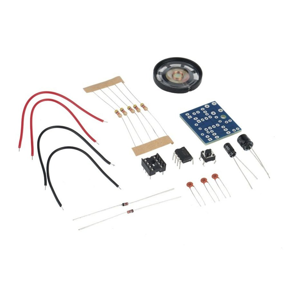 DIY NE555 Oscillator Buzzer Electronic Tone Generator LED Kit 8R 0.25W Speaker Environmentally Friendly Materials