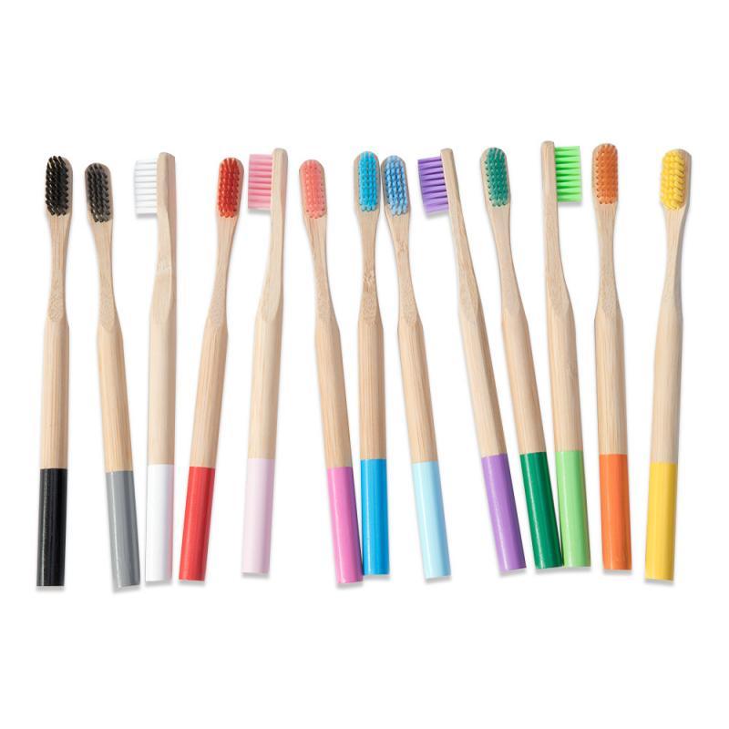 1 шт., цветная Экологичная бамбуковая зубная щётка с деревянной ручкой