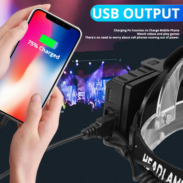 powerful 8000lm xhp902 led headlamp usb rechargeable headlight фотография