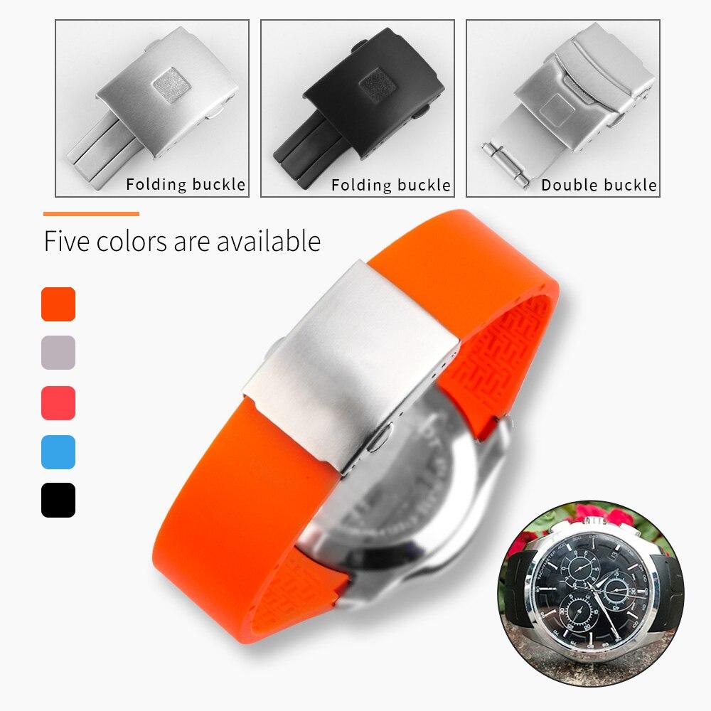 Bracelet de montre en caoutchouc de boucle de Sport imperméable pour Tissot T035 T035.407 22mm 23mm 24mm Bracelet de montre Orange