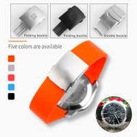 Waterproof Sport Loop Rubber Watch Band for Tissot T035 T035.407 22mm 23mm 24mm Orange Watchband Strap Wrist Belt Bracelet Light