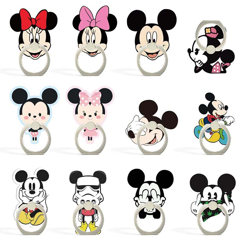 14 Styles Cartoon Character Phone Holder Ring Mobile Phone Stand Mickey & Minnie Finger Phone Ring Holder Support Celular