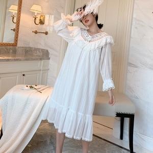 Image 3 - סתיו חדש רקמת תחרה נסיכת כתונת לילה ארוך שרוול ארוג כותנה הלבשת