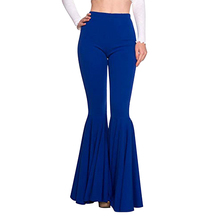 Women High Waist Flares Wide Leg Pants Elegant Ladies Office Leggings Pleated Slim Stretchy Flare Bottom Trousers