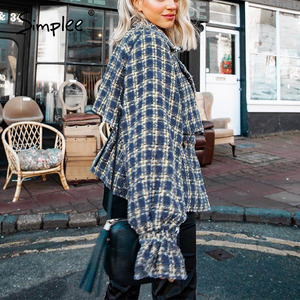 Image 3 - Simplee Elegant women plaid tweed jacket coat Lantern sleeve streetwear female outwear coat Elastic high waist ladies coat