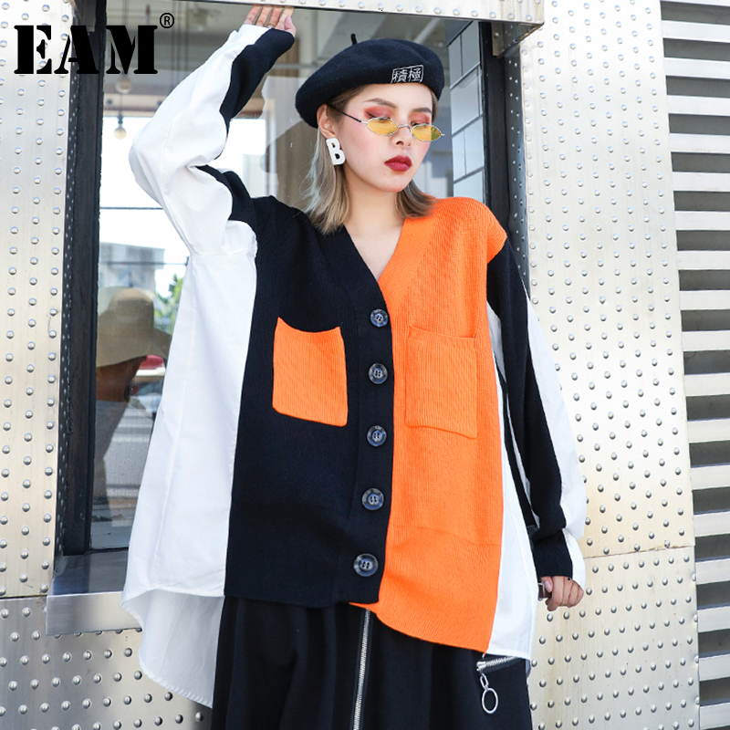 [EAM] Big Size Split Knitting Cardigan Sweater Loose Fit V-Neck Long Sleeve Women New Fashion Tide Autumn Winter 2020 1H760