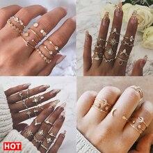 17 км 8 дизайн винтажные золотые звезды лунные Кольца Набор для женщин BOHO Кристалл из опала Midi палец кольцо женские богемные Ювелирные изделия Подарки