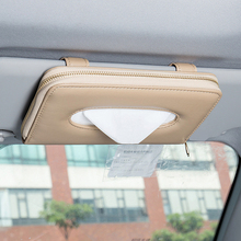 Alta qualidade carro auto viseira de sol tecido caixa guardanapo de papel titular interior acessórios toalha tipo suspensão couro patere luxo