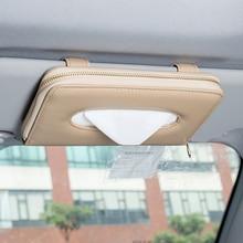 Di alta Qualità Car Auto Sun Visor Tissue Box Tovagliolo di Carta Holder Accessori Interni Asciugamano Appeso Tipo di Pelle Patere di Lusso