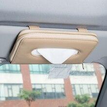 Yüksek kaliteli araba oto güneşlik doku kutusu kağıt peçete tutucu iç aksesuarları havlu asılı tipi deri Patere lüks